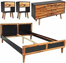 vidaXL 4tlg Massivholz Schlafzimmermöbel