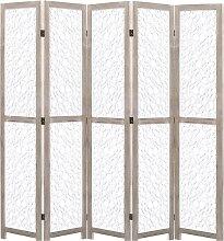 vidaXL 5-teiliger Raumteiler Weiß 175 x 165 cm