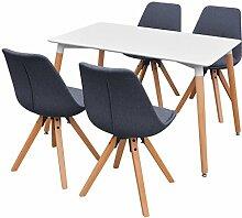 vidaXL 5-tlg. Essgruppe Sitzgruppe Esszimmer Tisch Stühle Weiß und Dunkelgrau