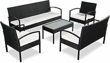 vidaXL 5-tlg. Garten-Lounge-Set mit Auflagen Poly
