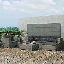 vidaXL 6-tlg. Garten-Lounge-Set mit Auflagen Poly