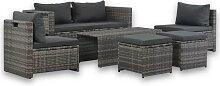 vidaXL 6-tlg. Garten-Lounge-Set mit Polstern Poly