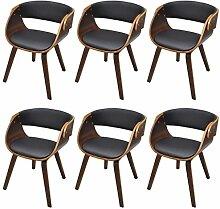vidaXL 6 x Esszimmer Stuhl Stühle Sessel Esszimmerstühle Holzrahmen braun