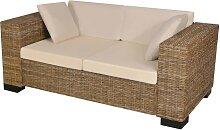 vidaXL 7-tlg. 2-Sitzer Sofa Set Echtes Rattan
