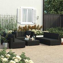 vidaXL 7-tlg. Garten-Lounge-Set Schwarz mit