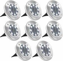 vidaXL 8x Solar Bodenleuchte LED Weiß