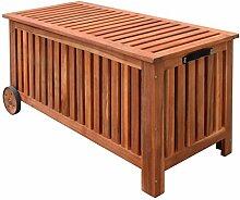 vidaXL Aufbewahrungsbox Gartentruhe Gartenbox Kissenbox mit Rädern Holz 118x52x58 cm