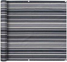 vidaXL Balkonbespannung 75x600cm Grau Gestreift