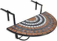 vidaXL Balkontisch Mosaik Halbrund Klapptisch