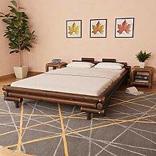 vidaXL Bambusbett 140x200cm Dunkelbraun Bett