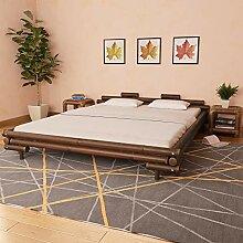 vidaXL Bambusbett 180x200cm Dunkelbraun Bett