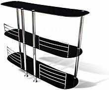 vidaXL Bartheke Hausbar Theke Tresen Regal schwarz Glas Bartisch Tisch Bar 2