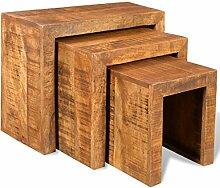 vidaXL Beistelltisch Couchtisch Tischset Nachttisch Hocker Antik Mango Holz 3er