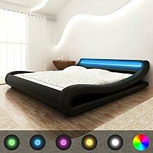 vidaXL Bett+LED & Memory Matratze Kunstleder