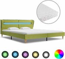 Vidaxl - Bett mit LED Matratze Stoff Grün