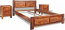 vidaXL Bettgestell Doppelbett mit Nachtschränken