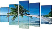 vidaXL Bilder Dekoration Set Strand mit Palmen 100