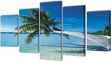 vidaXL Bilder Dekoration Set Strand mit Palmen 200