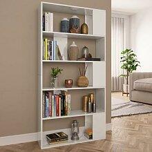 vidaXL Bücherregal/Raumteiler Hochglanz-Weiß
