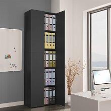 vidaXL Büroschrank Grau 60×32×190 cm Spanplatte