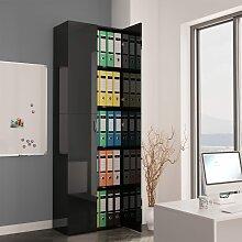 vidaXL Büroschrank Hochglanz-Schwarz 60×32×190
