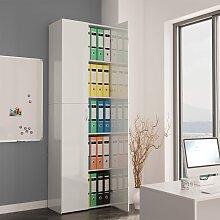 vidaXL Büroschrank Hochglanz-Weiß 60×32×190 cm