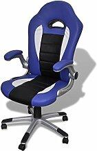 vidaXL Bürosessel Bürostuhl Drehstuhl Chefsessel Kunstleder Sessel Office blau 20074
