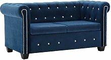 vidaXL Chesterfield Sofa 2-Sitzer Samtbezug Blau