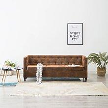 vidaXL Chesterfield-Sofa 3-Sitzer Stoffpolsterung