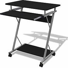 vidaXL Computertisch Schreibtisch Bürotisch Computerwagen PC-Tisch auf Rollen schwarz