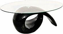 vidaXL Couchtisch Beistelltisch Kaffeetisch Tisch Glasplatte Hochglanz Schwarz 240432