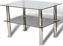 vidaXL Couchtisch Glas 2 Ebenen Tisch