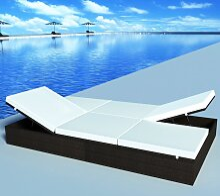 vidaXL Doppel-Sonnenliege mit Auflage Poly Rattan