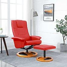 vidaXL Drehbarer TV-Sessel mit Fußhocker Rot