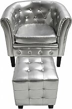 vidaXL Edle Chesterfield Edler Sessel Lounge Couch Wohnzimmer mit Sitzhocker Sofa NEU