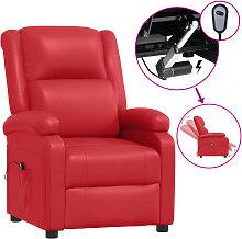 vidaXL Elektrischer Relaxsessel Rot Kunstleder