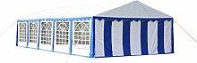 vidaXL Ersatzdach Dachplane Seitenteile Partyzelt Pavillon 10 x 5 m Blau & Weiß