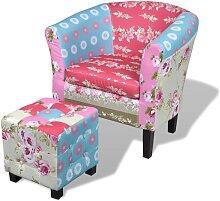 vidaXL Französischer Sessel mit Fußhocker