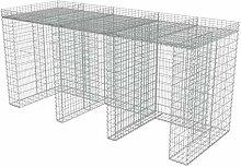 vidaXL Gabione Mülltonnenbox für 3 Tonnen Stahl
