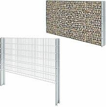vidaXL Gabionen Gittermattenzaun 2008x1230mm 6m Doppelstabmattenzaun Gartenzaun