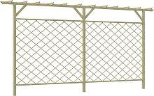 vidaXL Garten-Gitterzaun mit Pergola-Oberteil Holz