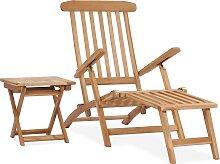 vidaXL Garten-Liegestuhl mit Fußstütze und Tisch