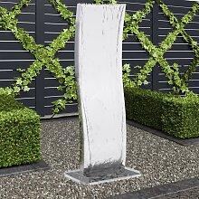 vidaXL Gartenbrunnen mit Pumpe Edelstahl 130 cm