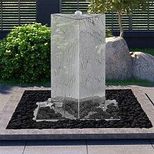 vidaXL Gartenbrunnen mit Pumpe Edelstahl 76 cm