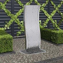 vidaXL Gartenbrunnen mit Pumpe Edelstahl 90 cm