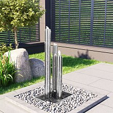 vidaXL Gartenbrunnen Silbern 48x34x88 cm Edelstahl