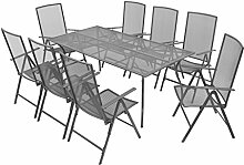vidaXL Gartenmöbel 9-TLG. Streckmetall Sitzgruppe