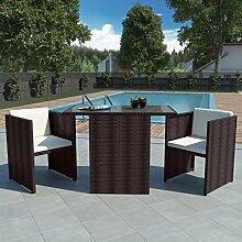 vidaXL Gartenmöbel-Set 7-tlg. Poly Rattan Braun