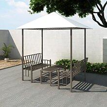 vidaXL Gartenpavillon mit Tisch und Bänken