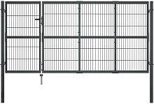 vidaXL Gartentor mit Pfosten Stahl 350×120 cm
